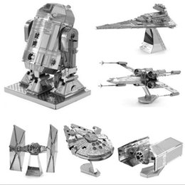 Wholesale Toy Metal Robot - HOT 3D Puzzle metal model kits Nano Puzzle F15 R2D2 robot kits Imperial star Destroyer for kids adult Chirstmas gift DIY toys