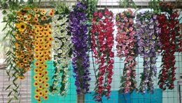 Wholesale Gerbera Fake Flowers - Artificial Flower Leaf Garland Plant Hanging Silk Sunflower Vine Faux Fake Foliage Chrysanthemum Garden Yard Wedding Window Home Fence Decor