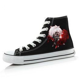 Wholesale Anime Canvas Shoes - Wholesale-Japan anime Tokyo Ghoul male female shoes print Kaneki Ken Canvas shoes hand-painted Harajuku cos lovers casual canvas shoes