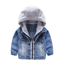 Wholesale Kids Denim Winter Jackets - Brand 2016 New Kids washed Denim coat with hood knitted Fake 2pcs Fall Winter boys outwear Jacket Fashion children Clothing quality
