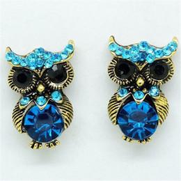 Wholesale Vintage Earring Stud Blue - Blue Owl Crystal Earrings vintage rhinestone cool owls earring studs