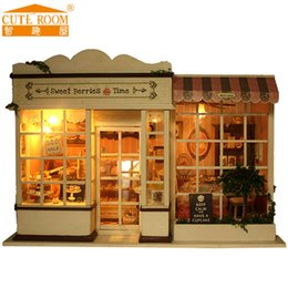 Wholesale Doll Furniture Craft - Wholesale-Home Decoration Crafts DIY Doll House Wooden Doll Houses Miniature dollhouse Furniture Kit Cute Room DIY Gift A-008