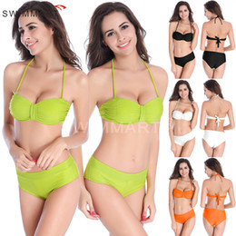 Wholesale Bikini Korea - South Korea popular bikini set Nylon push up bikini women swimsuit high quality hot spring bathing suit 4 colors sexy bandage swimwear
