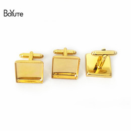 Wholesale Square Cabochon Settings - BoYuTe 20Pcs Antique Bronze Silver Plated 16MM 18MM 20MM 25MM Square Cufflink Blank Tray Diy Cabochon Base Setting Jewelry Accessories