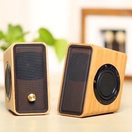 Wholesale Multimedia Laptop - Natural Bamboo Hi-fi Multimedia Bass Stereo computer Speaker Full Bamboo Subwoofer 2.0 Desktop Wooden wood Speaker for PC Laptop Cell phones