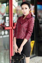 Wholesale Sexy Leather Jackets Fur - 2016 sexy lady Winter Women Motorcycle Leather Coat Jacket size:S-XXXL