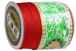 Wholesale Nylon Beading Thread - Hot sale ! 1mm Red Rattail Braided Nylon Cord Thread String Macrame Rope Shamballa Bracelet Beading Cords Accessories 350m Roll
