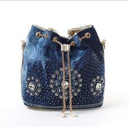 Wholesale Women Open String - Women denim bag with rhinestones handbag with chain handle summer beach small shoulder bag ladies clutches handwoven bucket bag
