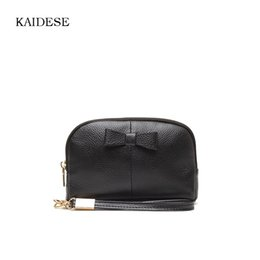 Wholesale Makeup Bag Bow - Kaidese Summer New Trend Bow Makeup Bag Bump Color Simple Portable Fashion Real Leather Handbag Storage Cosmetic Cases