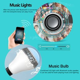 Wholesale Projector T - Smart Bluetooth Music Lamp with RGB LED Infrared Bluetooth and stereo audio combo produc bluetooth bulb new arrive!t