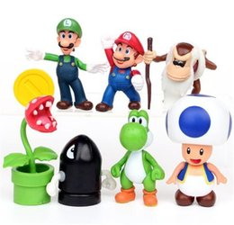 Wholesale Display Dolls - Super Mario character Bros Mini Figurines Set Doll Display gift 7pcs  set