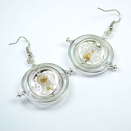 Wholesale Sphere Earrings - armillary sphere earrings Time travel machine Three movable circle golden sand Hourglass drop earrings celestial globe Dangle earrings e298