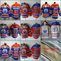 3efad9019 Orange 93 Ryan Nugent-Hopkins 97 Connor McDavid 94 Ryan Smyth Mens Edmonton  Oilers Custom Hockey Hoodie Stitched Jersey Hoodies Sweatshirts