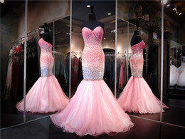 Wholesale Ombre Mermaid Dress - Light Pink Ombre Sweetheart Mermaid Prom Dress Sequins Crystals Biling Biling Evening Gowns Pageant Dress party dress