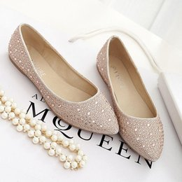 Wholesale Silver Bridesmaid Flat Shoes - Shallow flat pointed shoes bridesmaid shoes rhinestone champagne banquet Joker fashion feet female wedding shoes silver