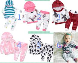 Wholesale Deer Baby Coat - Newborn kids Deer Pocket Front 2PCS set Baby Girls Boys Long Sleeve Hooded Coat Tops+Deer Pants Outfits Set