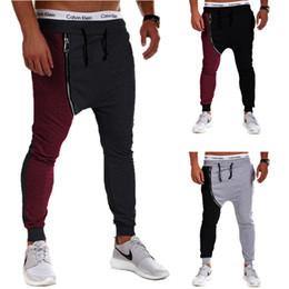Wholesale Hip Hop Baggy Sweatpants - Justin Bieber Hip Hop Harem Pants Men Baggy Drop Crotch Sport Trousers Zipper Jogging Track Pants Casual Mens Joggers Sweatpants
