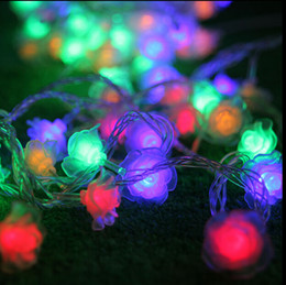 Wholesale Curtain Rose - Romantic 3m 30 LED Rose String Fairy Lights Battery Operated Flower Wedding Party Decoration Lights Lamp