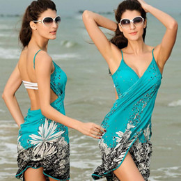 Wholesale Bikini Sarong Wrap - New Women Beach Dress Sexy Sling Beach Wear Dress Sarong Bikini Cover-ups Wrap Pareo Skirts Towel Open-Back Swimwear 2506024