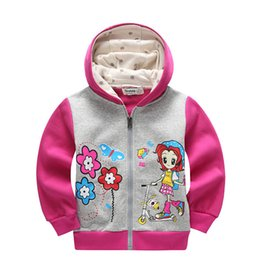 Wholesale Childrens Sweater Jackets - Baby girls sweatshirt coat,brand long sleeve girls sweater jacket,3-6 yrs printed childrens sport hoodies,casual kids clothes