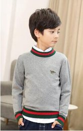 Wholesale New Arrivals Children Winter Clothing - New Arrival Children Clothing Big Boys Spring Autumn Knit Sweater Teenage Embroidered Solid Casual Pullover Sweater Free Shipping