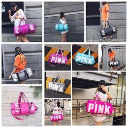 Wholesale Wholesale Single Luggage - 10 Colors Pink Duffel Bags Unisex Travel Bag Waterproof Victoria Casual Beach Exercise Luggage Bags Canvas Secret Storage Bag CCA7115 20pcs