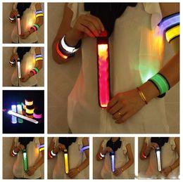 Wholesale Wrist Straps Bracelet Light - Nylon LED Sports Slap Wrist Strap Bands Wristband Light Flash Bracelet Glowing Armband Flare Strap For Party Concert Armband 50pcs