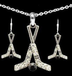 Wholesale Ice Hockey Jewelry - Hockey lovers Collection 30set a lot Ice Hockey Sticks & Puck crystal rhodium Plated Necklace Earring Set sport jewelry