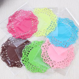 Wholesale Lace Table Pad - DHL Free 500pcs Colorful Lace Flower Hollow Design Round Silicone Table Heat Resistant Mat Cup Coffee Coaster Cushion Placemat Pad