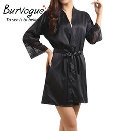 Wholesale Kimono Satin Set - Wholesale- Burvogue Sexy Women Robes Nightwear Plus Size Silk Bathrobes Deep-V Sleepwear Lace Bride Robes Kimono Satin Robe Sets Nightgown