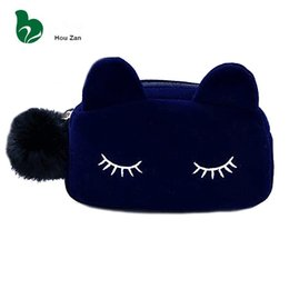 Wholesale Characters Blue Cat - 10pcs Cute Cat Neceser Beautician Vanity Travel Toiletry Make Up Makeup Suitcase Case Storage Pouch Women Cosmetic Bag Organizer