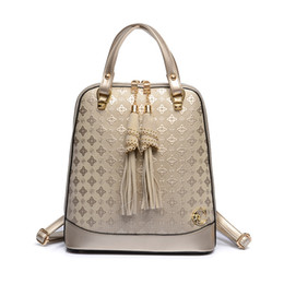 Wholesale Tassel Black Backpack - The New Fashion High Pressure Diamond Flower PU Tassel Bag