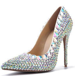 Wholesale Silver Cinderella Shoes - Cinderella 2017 New Luxurious Colored Crystal Wedding Shoes Women Pumps Pointed Toe 8.5 CM High Heel Dance Party Prom Bridal Gowns