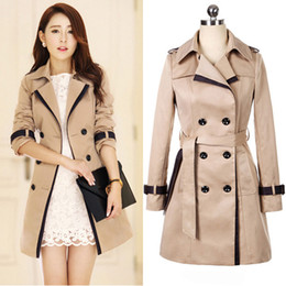 Wholesale Top Breast Women - top fashion spring autumn slim turn-down collar spliced overcoat trench coat long for women coats cortavientos mujer jacket