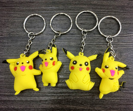 Wholesale Silicone Women Doll - 2016 New New Poke mon Silicone Keychains 3D Doll Cartoon Pocket Monster Pikachu Keychain Key Ring Christmas Gifts For Children