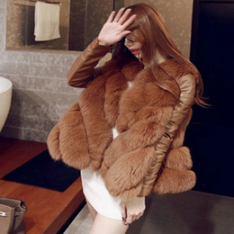 Wholesale Coat Buttons Sewing - Wholesale ladies European style imitation fur coat fox fur coat 3 color mosaic cloak fashion 3XL