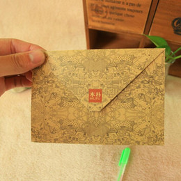 Wholesale Kraft Stationary - Wholesale- 100pcs lot New Vintage print pattern kraft paper DIY envelope set Fancy envelopes Kawaii gift stationary wholesale
