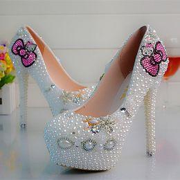 Wholesale Dress Pumps Rhinestone - Free shopping bling bling rhinestone crystals handmade bridal wedding dress shoes daisy crystals Diamond luxury high heels hello kitty