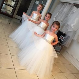Wholesale Joan Calabrese Flower Girls - Joan Calabrese Easter Flower Girls Dresses For Toddlers 2016 Ball Gown Tutu Tulle Skirt Crystal Sash Girls Pageant First Communion Dresses