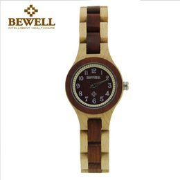 Wholesale Birthday Gift Watches For Women - BEWELL Special Wood Design Women's Wooden Watch Quartz Wood Analog Date Display Wristwatch for Women Ladies Birthday Gift 123A