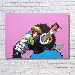 Wholesale Cheap Wall Canvas Paintings - Top quality cartoon monkey oil painting handmade abstract animal oil painting cheap price wall art decor