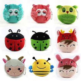 Wholesale Cute Korean Cards - new arrive 29 designs cute little animal beetles sheep Coin Purses cute emoji coin bag plush pendant smile wallet D730
