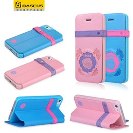 Wholesale Lovely Iphone Wallet Cases - 2016 New Hot selling Baseus Couples series leather stander case strap flip lovely case for iPhone 5 SE