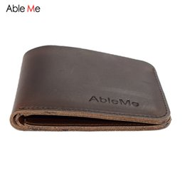 Wholesale custom gift cards - Wholesale- AbleMe Two Folded Short Section Men Leather Handmade Wallet Can Custom Name Elegant Fashion Purse Gift For Men Hand Made