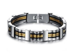 Wholesale Bracelet Thick - JEWELRY Fashion Casual Stainless Steel Thick Heavy Bracelet with Genuine Silicone Big Cuff Wristband for Men 2016 New Silicone Bracelet 814