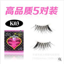 Wholesale half lashes - Wholesale-K03 5 pair Half Crisscross Winged False Eyelashes Fake Eye Lashes Eyelash K03