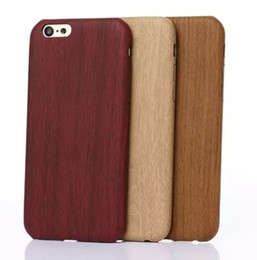Wholesale Bamboo Iphone Skin - Wood Wooden Retro Bamboo pattern soft leather PU Skin back Case cover for iphone 5 6s 7 Plus Samsung S6 S7 edge S8