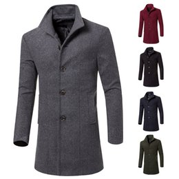 Wholesale Mens Slim Handsome - Mens Trench Coats Winter Fashion Long Jackets Single Breasted Woolen Slim Fit England Style Coats Solid Color Handsome Wear