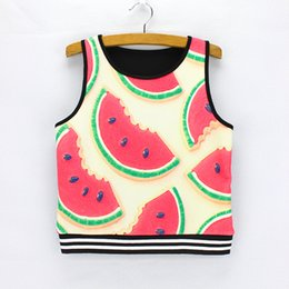 Wholesale Girl S Vogue Dress - Wholesale-Novelty watermelon printing ladies summer dresses Vogue women cropped tank tops 2016 fashion design girls crop tees wholesale