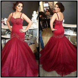 Wholesale Luxury Party Dresses Girls - Luxury Burgundy Beading Mermaid Evening Dresses 2017 Sexy Backless Spaghetti Strap Long Prom Dress For Girls Party Gowns